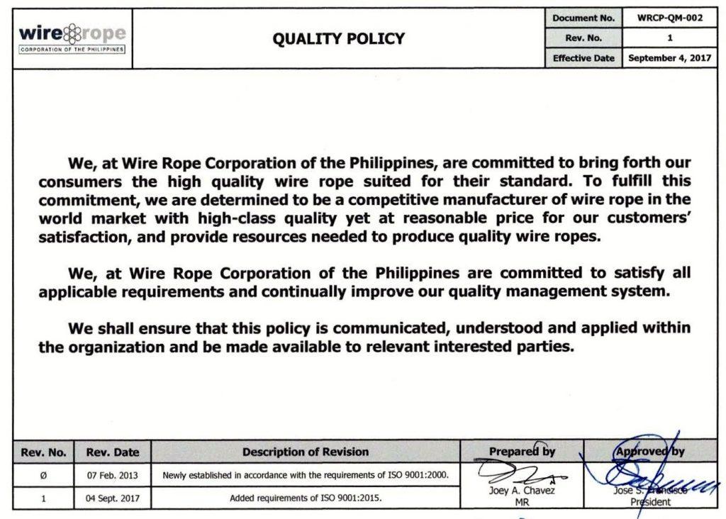 WRCP-QM-002 Quality Policy