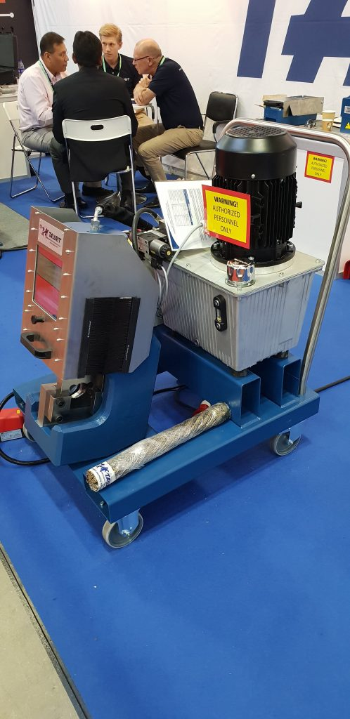 This Talurit machine is designed for portability to a remote site where wire ropes need to be cut.