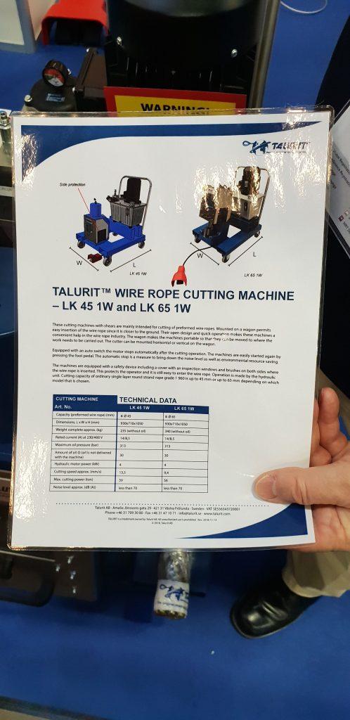 A Talurit wire rope cutting machine.