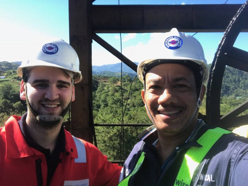 Bridon-Bekaert Ropes Group Specialist and WRCP's own before heading down the mine.