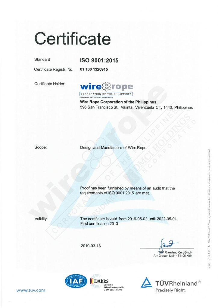 ISO 9001 Certificate of Wire Rope Corporation valid until May 1, 2022