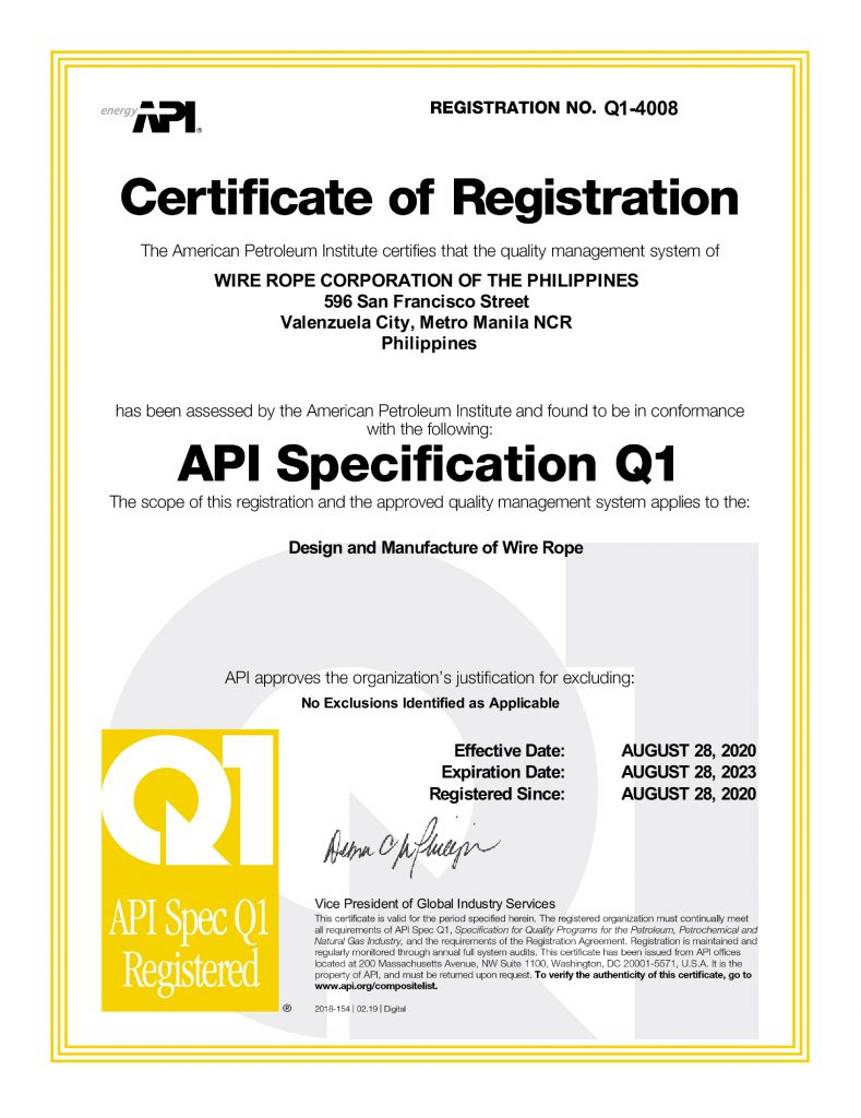 Certificate of API Registration