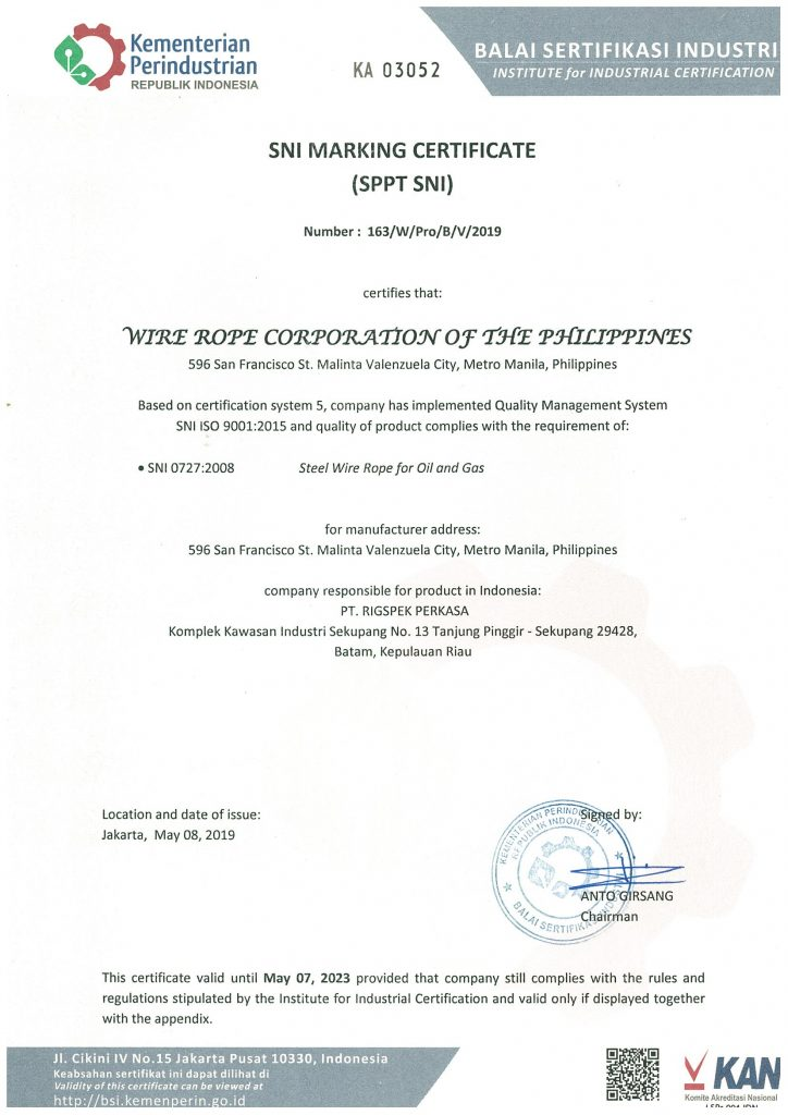 Wire Rope SNI Marking Certificate page 1