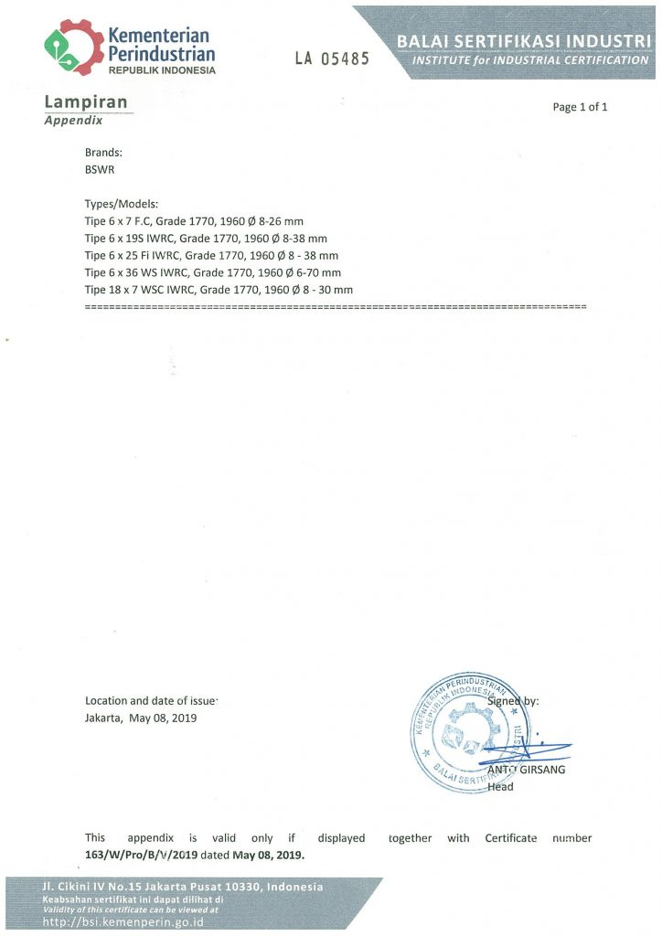 Wire Rope SNI Marking Certificate (2020) page 2